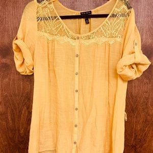 Canary Yellow Shirt W/ Capped Sleeves